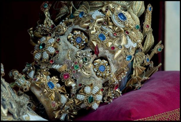 Skeleton covered in Jewels.