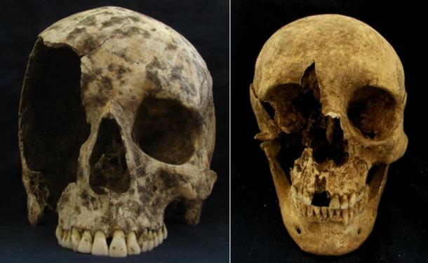 The skulls of two male immigrants found in Rome.