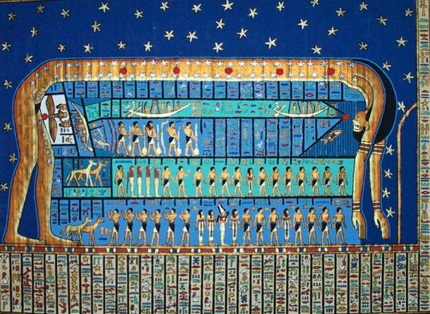 The sky goddess Nut in an ancient Egyptian star chart that differs from the one studied by Sarah Symons and Elizabeth Tasker.
