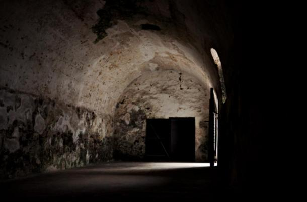 A slave holding cell at Elmina Castle