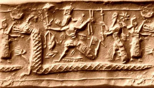 Neo-Assyrian cylinder seal impression from the eighth century BC identified by several sources as a possible depiction of the slaying of Tiamat