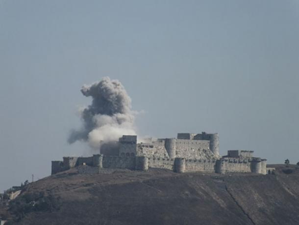 Smoke coming from the castle in 2013.
