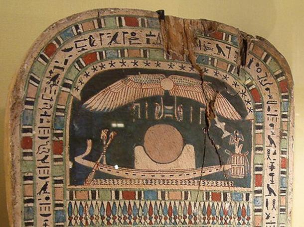 A solar barge on an Ancient Egyptian painted wooden stele of the 26th dynasty of Egypt.