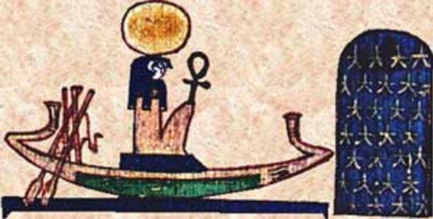 Ra travelling on his solar boat.