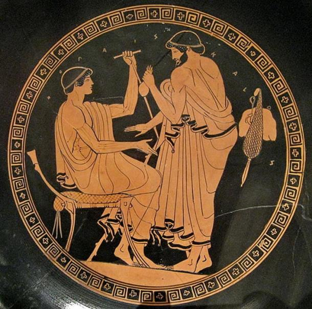 Man soliciting boy for sex in exchange for a purse containing coins. Athenian red-figure kylix, 5th c. BC. Metropolitan Museum of Art, New York.