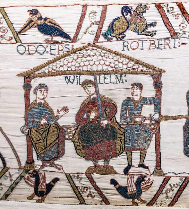 The three sons of Herleva: Bishop Odo on the left, William in the center and Robert on the right. (Public domain)