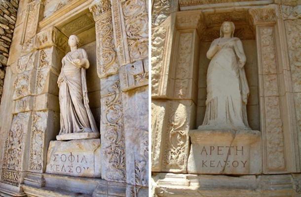 Left: Statue of Sophia Right: Statue of Arete