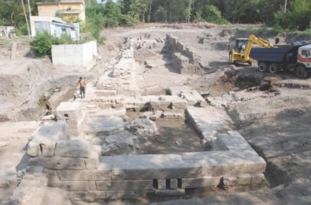 This 2012 archive photo shows part of the ruins  of the ancient and medieval spa resort of Aquae Calidae – Thermopolis.