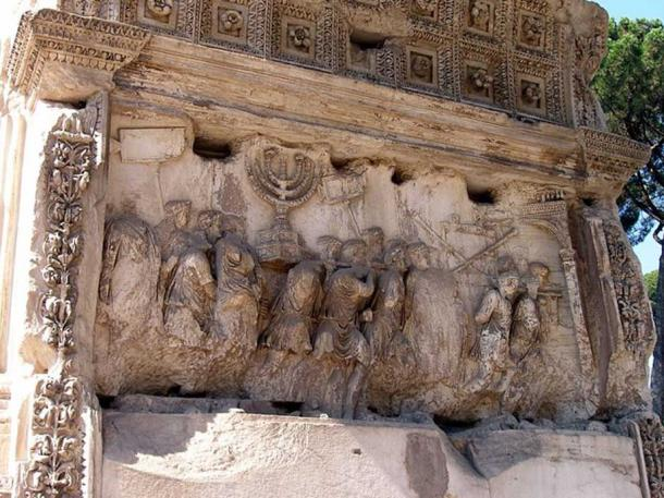 Detail of a relief showing spoils from the Siege of Jerusalem, including the menorah, on the Arch of Titus.