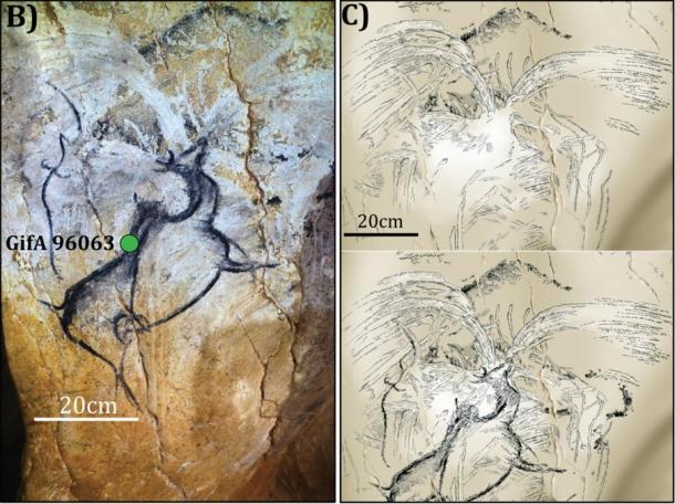 Researchers say the spray or flourish from a cone shape carving into the rock above the megaloceros in Chauvet-Pont d'Arc cave in France, reproduced more clearly on the right, may depict a volcanic eruption. A megaloceros is an extinct species of deer with huge horns.