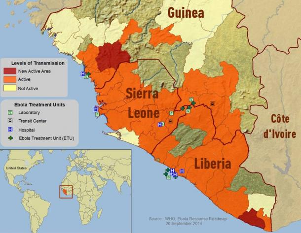 Map from a government publication on the spread of Ebola in Guinea Sierra Leone as of July 2014