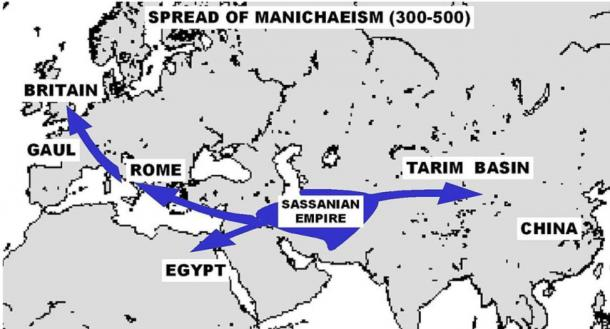 The spread of Manichaeism (A.D. 300– 500). Map reference: World History Atlas, Dorling Kindersly.