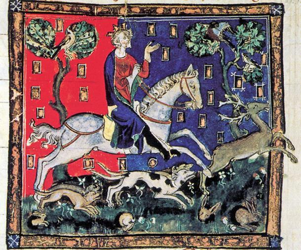 El rey Juan en una cacería de ciervos. (Dominio público)
