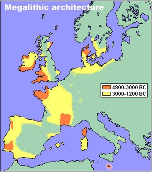 The distribution of standing stones and stone circles from the Neolithic era in Europe.