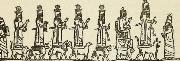 Ashur, Ishtar, Sin, Enlil, Shamash, Adad, and Ishtar of Arbela are flanked by two star-worshippers.