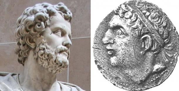 Statue of Hannibal and Coin showing Hasdrubal Barca, Hannibal's younger brother.