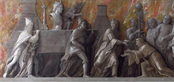 A detail of the 1505 AD statue by Andrea Mantegna depicting the introduction of the worship of Cybele to the Romans in 204 AD.