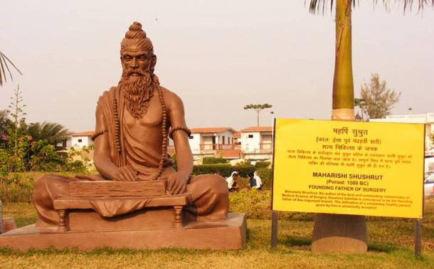 A statue dedicated to Sushruta at the Patanjali Yogpeeth institute in Haridwar