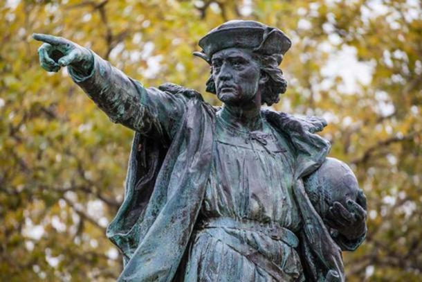 A statue meant to depict Christopher Columbus.