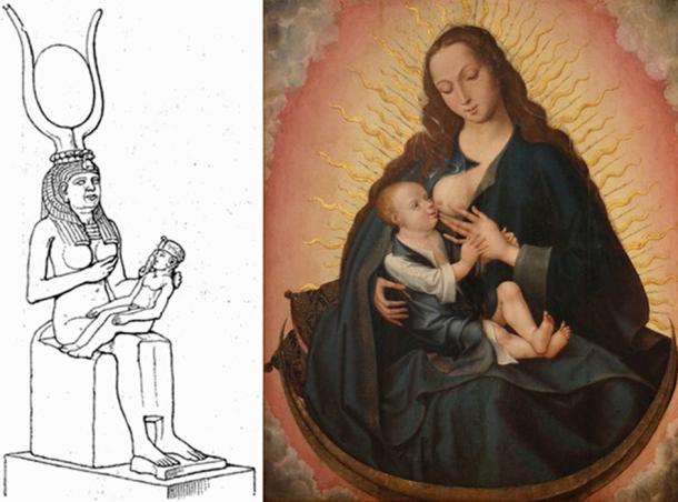 An 1888 drawing of a statue of Isis and Horus. The Nursing Madonna by unknown master from Bruges, 16th century. Museu de Aveiro, Portugal.