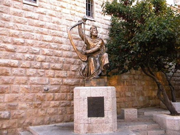 A statue of King David outside his tomb on Mount Zion.