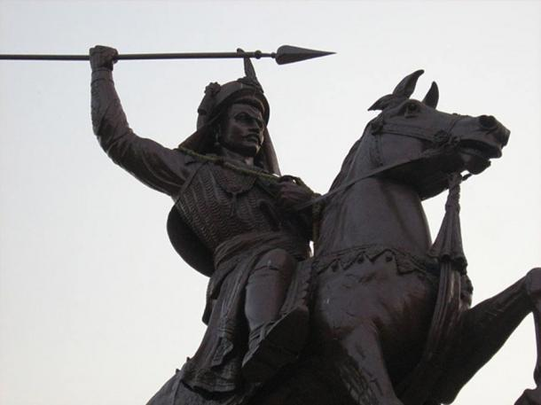 An equestrian statue of Peshwa Bajirao I outside the Shaniwar Wada (Shaniwar Palace) in Pune.