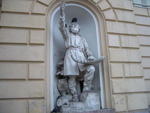 The statue of Väinämöinen by Robert Stigell (1888) decorates the Vanha Ylioppilastalo (old house of Helsinki University students) built in 1870 in Helsinki, Finland.