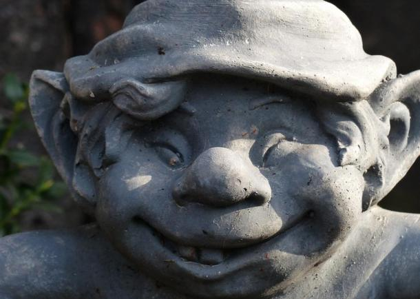 A statue of a dwarf. Dwarves were often known for playing tricks around houses.