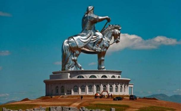 Colossal statue of mounted Genghis Khan, Ulan Bator.