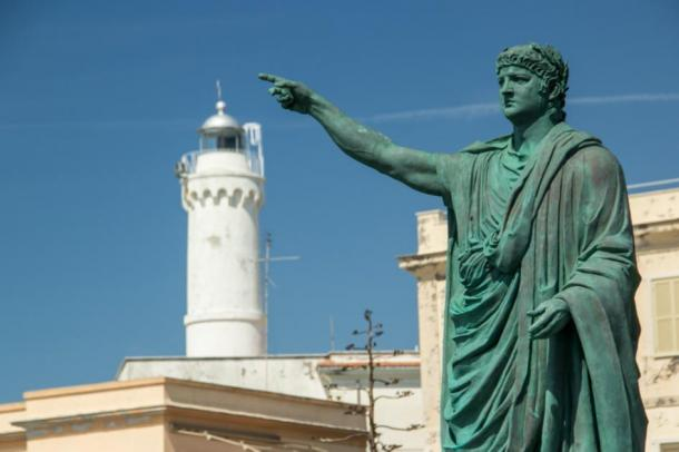 Statue of Roman Emperor Nero in Anzio, Italy. Nero reigned for 13 years and eight months.