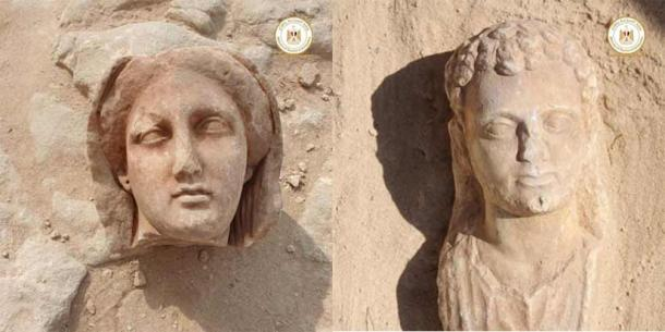 Two of the well-preserved statues recently discovered, believed to represent some of the important individuals buried in the Taposiris Magna temple. (Egyptian Ministry of Tourism and Antiquities)