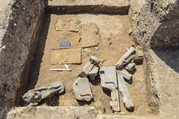 Some of the statues of Sekhmet as they were unearthed in situ.