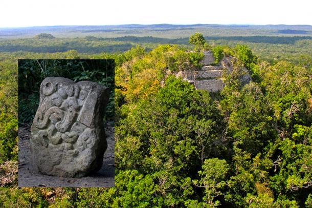 Main: A pyramid covered in vegetation at El Mirador. Inset: A Maya stela found at El Mirador