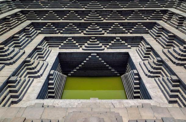 A step well at Hampi Hindu temple, Karnataka India.