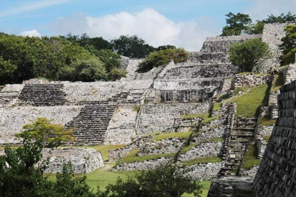 View of the steps at Xochicalco