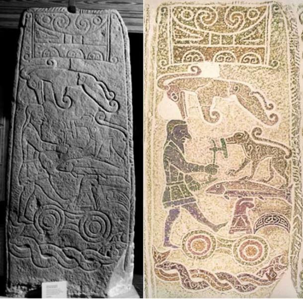 Left: The Golspie Stone Photograph by R. J. Henery Right: Creative reproduction by Marianna Collessie