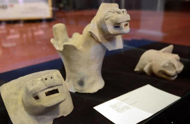 Some stone artifacts recovered from the underwater temple in Lake Titicaca