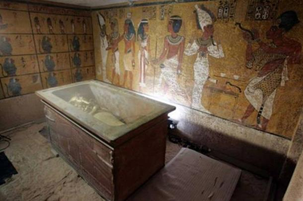 The stone sarcophagus containing the mummy of King Tut is seen in his underground tomb