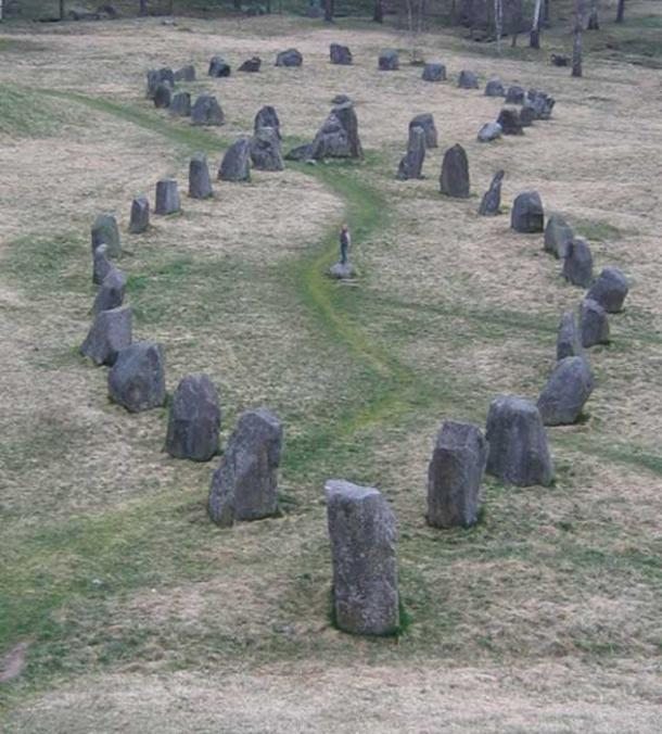 The stone ships at Anund's barrow in Sweden.