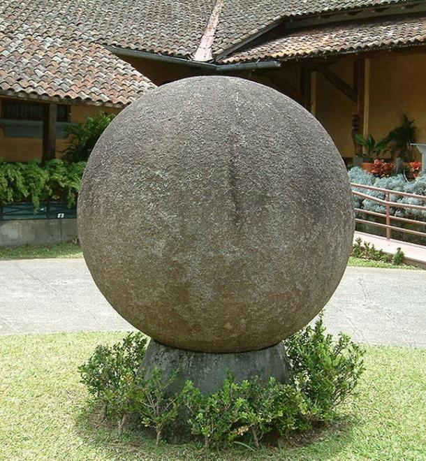 This stone sphere is in the rooftop courtyard of the national museum or Museo Nacional in San Jose, Costa Rica. It is part of the extensive collection of pre-Columbian artifacts at the museum