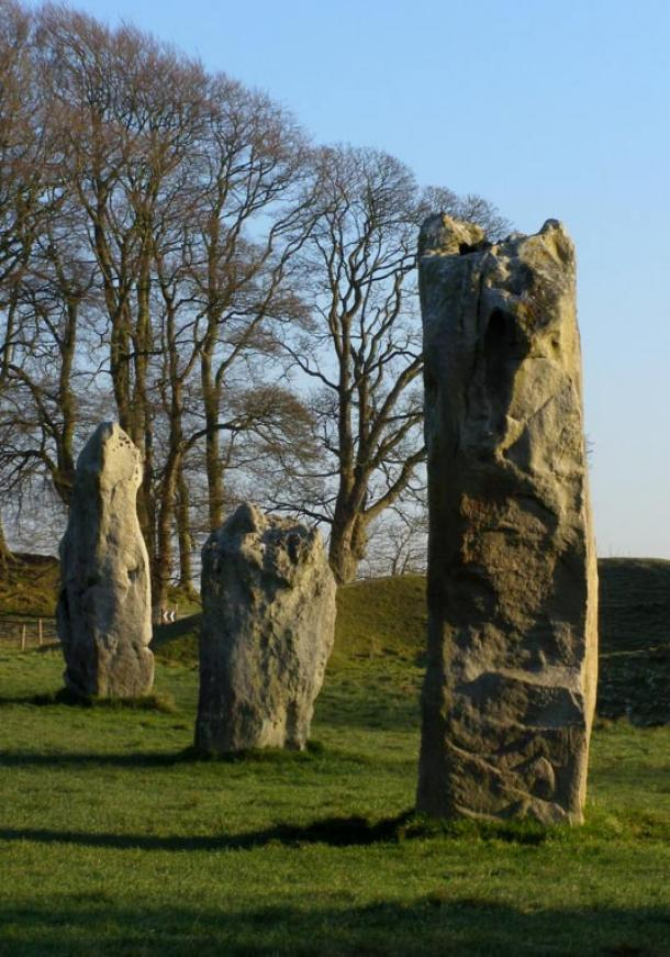 Three of the stones at Avebury Henge; it's possible the Dartmoor circle looked something like this more than 4,000 years ago when its stones were still standing.