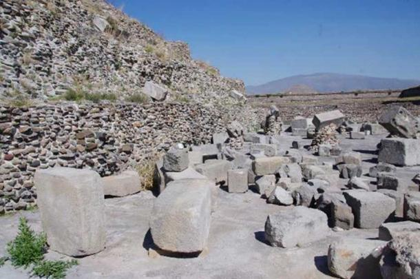 Megalithic stone blocks scattered in the vicinity of the pyramid of the Feathered Serpents at Teotihuacan.