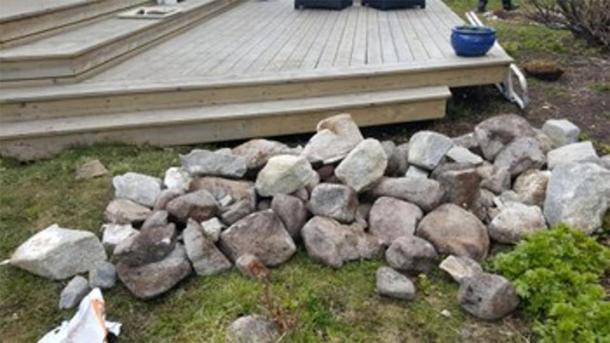 These stones formed the top of what archaeologists believe is a Viking burial ground. (Nordland County)