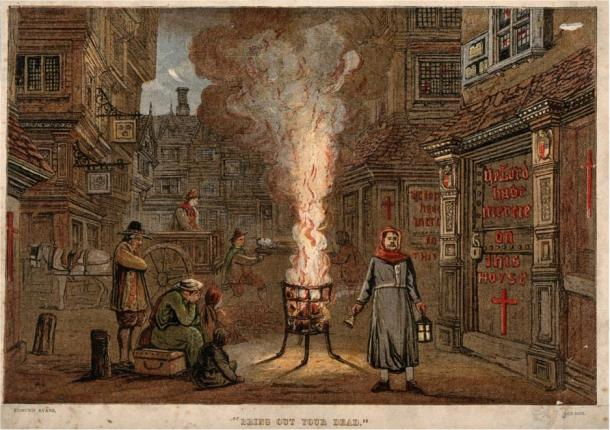 """""""Bring Out Your Dead"""" A street during the Great Plague in London, 1665, with a death cart and mourners. Wellcome Images, a website operated by Wellcome Trust, a global charitable foundation based in the UK."""
