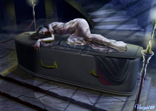 A strigoi laying on its death bed.