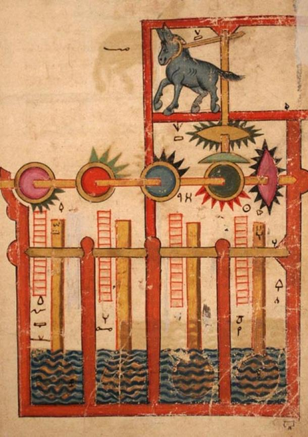 The stunning inventions included in the Book of Knowledge of Ingenious Mechanical Devices, are testament to the brilliant mind of Ismail al-Jazari. This one is a donkey-powered waterwheel.
