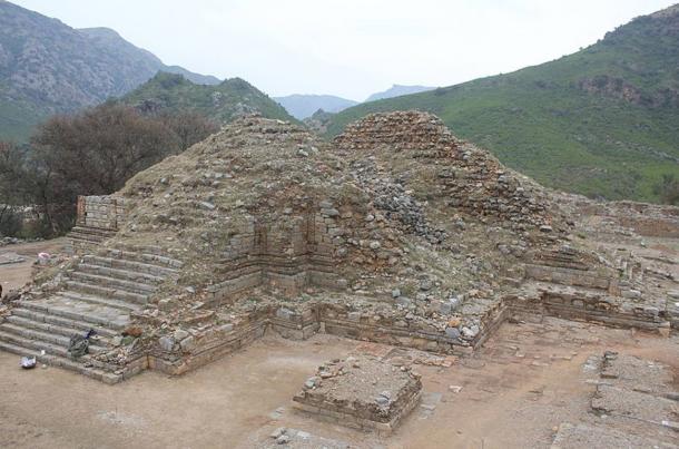 The stupa monument at Bhamala. Stupas are mounded spiritual sites, usually containing Buddhist relics.