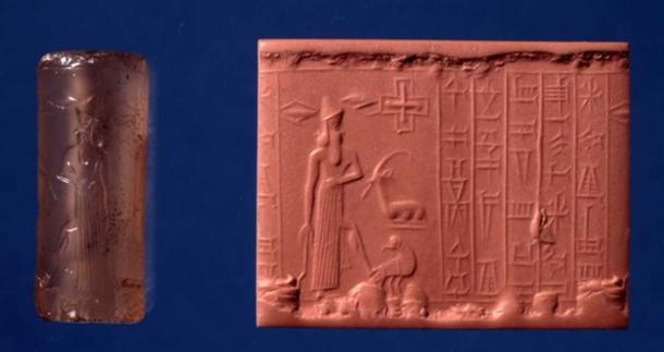 A quartz, chalcedony cylinder seal depicting a bearded male figure holding a curved sword. He has one foot on the back of a bird of prey that turns its head back towards the god. The five-line Sumerian inscription reads: Marduk, great lord, the noble, into whose hands, decisions in heaven and earth are assigned, may the servant who reverences you rejoice before you. In the British Museum's collection.