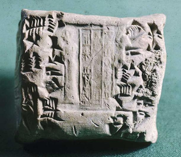 Before the writing was added, this tablet, a receipt, was marked with a cylinder seal dated to the reign of King Shulgi of Ur. Still visible is a typical Sumerian (Ur III) depiction of a standing figure of a worshiper with one hand raised, and three lines of an inscription with the name of a scribe - suggesting that the seal may have belonged to the person who wrote the tablet. (2100-2050 BC)