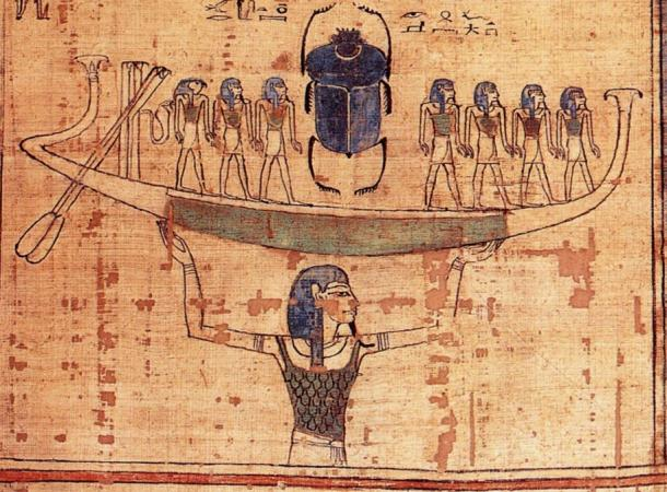 Nun, the embodiment of the primordial waters, lifts the boat of the sun god Ra into the sky at the moment of creation.